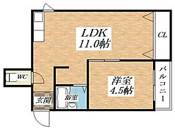 Osaka Metro谷町線 長原駅 徒歩4分の賃貸マンション 3階1LDKの間取り