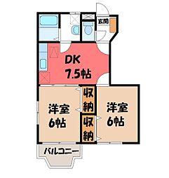 栃木県宇都宮市陽西町の賃貸アパートの間取り