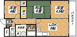大阪府大阪市平野区喜連7丁目の賃貸マンションの間取り