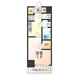 Osaka Metro中央線 朝潮橋駅 徒歩5分の賃貸マンション 8階1Kの間取り