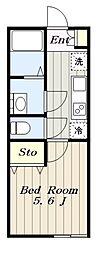 多摩都市モノレール 程久保駅 徒歩11分の賃貸アパート 1階1Kの間取り