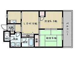 アローウィング栄光[6階]の間取り
