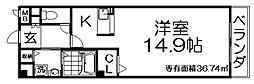 カーサ・エル・タカミヤ 1階1Kの間取り