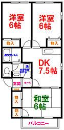 JR五日市線 秋川駅 徒歩14分の賃貸アパート 1階3DKの間取り