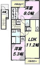 JR五日市線 武蔵引田駅 徒歩13分の賃貸アパート 2階2LDKの間取り
