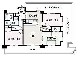 埼玉県和光市下新倉2丁目の賃貸マンションの間取り