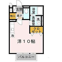 コゥジィーコートI 2階ワンルームの間取り