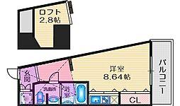 フォレステージュ江坂公園 13階ワンルームの間取り