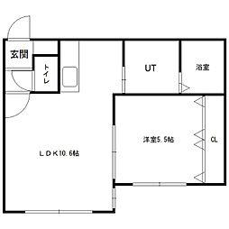 北海道札幌市中央区北一条西28丁目の賃貸アパートの間取り