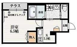 JR山手線 田端駅 徒歩11分の賃貸マンション 1階1Kの間取り