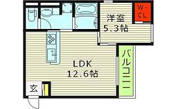アドラ 3階1LDKの間取り