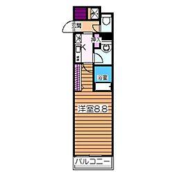 南海高野線 白鷺駅 徒歩2分の賃貸マンション 2階1Kの間取り