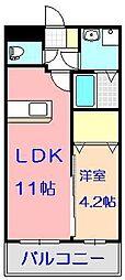 レジェンド桜 八番館 3階1LDKの間取り