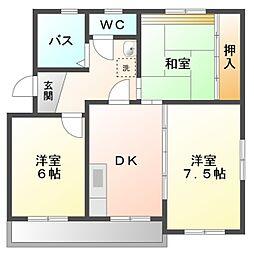 愛知県岡崎市柱町字東荒子の賃貸アパートの間取り