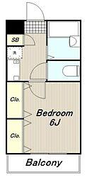 多摩都市モノレール 中央大学・明星大学駅 徒歩5分の賃貸アパート 2階1Kの間取り