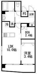 プリズム12番館 6階1SLDKの間取り
