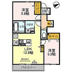 神奈川県川崎市宮前区神木本町1丁目の賃貸アパートの間取り