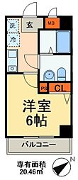 JR総武線 本八幡駅 徒歩3分の賃貸マンション 6階1Kの間取り