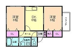 ファミーユ辰巳 D棟[2階]の間取り