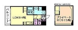 大阪府大阪市西淀川区姫里1丁目の賃貸マンションの間取り