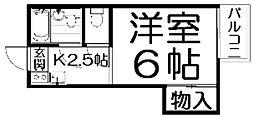 大阪府枚方市東香里元町の賃貸アパートの間取り