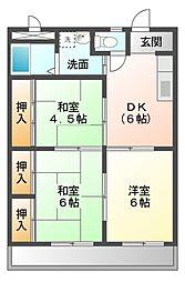 愛知県岡崎市大樹寺3丁目の賃貸アパートの間取り
