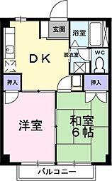 埼玉県草加市稲荷3丁目の賃貸アパートの間取り