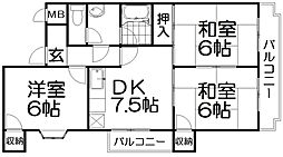 ブルーレイク長尾[3階]の間取り