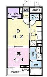 西武新宿線 狭山市駅 徒歩7分の賃貸マンション 1階1DKの間取り
