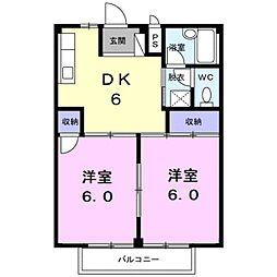 愛知県蒲郡市御幸町の賃貸アパートの間取り