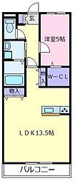 大阪府松原市立部5丁目の賃貸マンションの間取り
