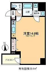 HIRAI RISE 8階ワンルームの間取り