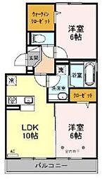 つくばエクスプレス 三郷中央駅 バス14分 八木郷橋下車 徒歩2分の賃貸アパート 2階2LDKの間取り