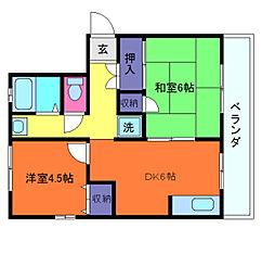 兵庫県神戸市灘区泉通5丁目の賃貸アパートの間取り