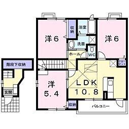 愛知県田原市片西1丁目の賃貸アパートの間取り