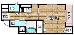 JR東海道・山陽本線 高槻駅 徒歩5分の賃貸マンション 1階1Kの間取り