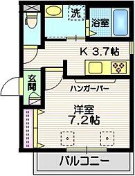 東急多摩川線 矢口渡駅 徒歩8分の賃貸マンション 2階1Kの間取り