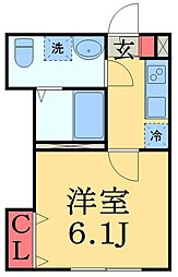 JR京葉線 蘇我駅 徒歩14分の賃貸アパート 2階1Kの間取り