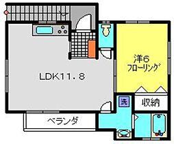 神奈川県横浜市南区花之木町3丁目の賃貸アパートの間取り