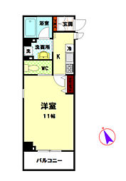 JR横浜線 八王子みなみ野駅 徒歩4分の賃貸マンション 3階1Kの間取り