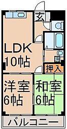 東京都立川市柏町1丁目の賃貸マンションの間取り