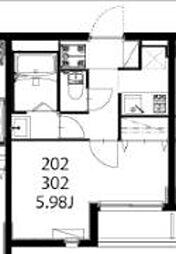 モダンアパートメント武蔵小山 2階1Kの間取り