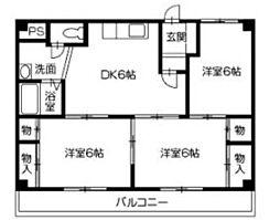 徳島県徳島市末広3丁目の賃貸マンションの間取り