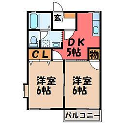 栃木県宇都宮市桜4丁目の賃貸アパートの間取り