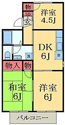 千葉県市原市国分寺台中央3丁目の賃貸アパートの間取り