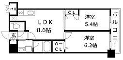 アトラスアルファーノ箱崎[13階]の間取り