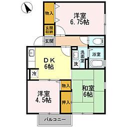 神奈川県座間市西栗原1丁目の賃貸アパートの間取り