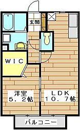埼玉新都市交通 今羽駅 徒歩2分の賃貸アパート 2階1LDKの間取り