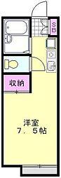 東武野田線 大和田駅 徒歩12分の賃貸アパート 2階ワンルームの間取り