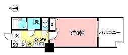 JR中央線 武蔵小金井駅 徒歩1分の賃貸マンション 4階1Kの間取り